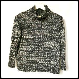 Zara knit black/white marled mock neck pullover